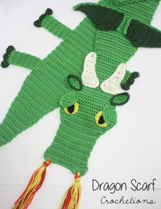 This is a pattern for a scarf made to resemble a fierce and majestic Dragon. It can easily be made for any person. Crochet Kids Scarf, Crochet Scarves, Crochet For Kids, Crochet Clothes, Crochet Baby, Free Crochet, Knit Crochet, Crochet Dragon Pattern, Crochet Stitches Patterns