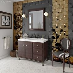 Bathroom Tile Ideas - Install 3D Tiles To Add Texture To Your Bathroom // The contrast of matte black and shiny gold 3D tiles around the vanity of this bathroom creates a sophisticated look that's both masculine and feminine.