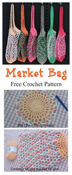 French Market Mesh Bag Free Crochet Pattern Market Bag Free Crochet Pattern Always wanted to learn how to knit, nevertheless undecided how to s. Crochet Diy, Crochet Tote, Crochet Handbags, Crochet Purses, Crochet Gifts, Unique Crochet, Crochet Ideas, Crochet Hooks, Plastic Bag Crochet