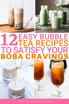 12 Easy Bubble Tea Recipes to Satisfy All Your Boba Cravings – The Thrifty Kiwi – Healthy Drinks Easy Bubble Tea Recipe, Bubble Tea Menu, Bubble Tea Shop, Bubble Milk Tea, Bubble Drink, Boba Tea Recipe, Chai Recipe, Yummy Drinks, Summer