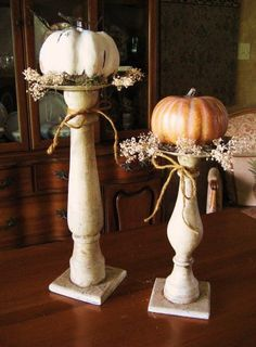 DIY~ Turn some old candlesticks into great fall decor.