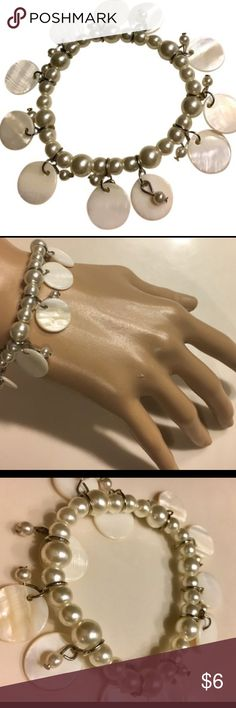 """Pretty Pearl Dangly Beach Bracelet Stretches onto wrist, measures 2.5"""" diameter, Resin and light base metal materials. Lightly used. Jewelry Bracelets"""