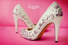 Hand-Painted Pink Butterfly Wedding Shoes by Figgie | info@figgieshoes.com | www.figgieshoes.com
