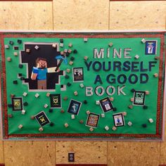 We put this Minecraft bulletin board up in the Young Teen section of my library. Was immediately a hit, met with positive remarks from both colleagues and patrons. Teen Bulletin Boards, Minecraft Classroom, Reading Bulletin Boards, Bulletin Board Display, Minecraft Activities, Classroom Ideas, Library Themes, Library Book Displays, School