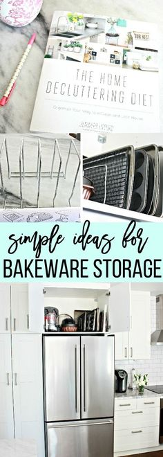 Bakeware Storage Organization Ideas for your kitchen cabinets. The simplest ideas for kitchen storage ideas that will help you be more organized. Kitchen Cabinet Organization, Kitchen Storage, Storage Organization, Organizing Tips, Baking Storage, Storage Drawers, Storage Cabinets, Storage Hacks, Storage Solutions