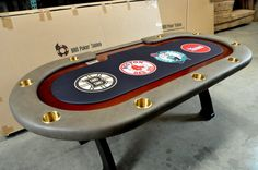 Custom Premier poker table - Any Boston fans out there? Custom Tables, Men Cave, Table Games, Poker Table, Boston, Projects To Try, Planters, Gaming, Club