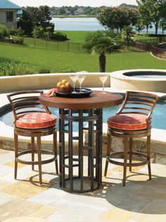 "38"" Round High/Low Bistro Table w/ Weatherstone Top 