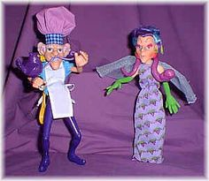 The Villains of Strawberry Shortcakeland. The Purple Pieman and Sour grapes! They would steal the berry kids' crop for there own selfish needs. Probably the least frightening of all villains. In the cartoon the Purple pieman would tap dance when he was up to no good.