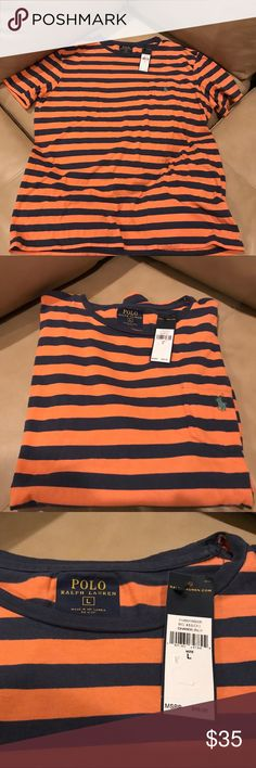 Men's Ralph Lauren Polo Shirt New with tags. Size Large. Striped orange and blue. Look stylish! Bundle for deals! Polo by Ralph Lauren Shirts Tees - Short Sleeve
