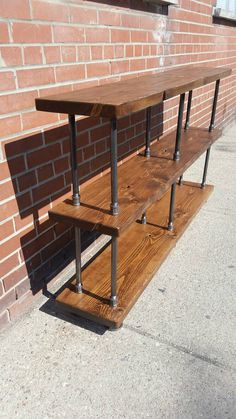 Rustic industrial pipe and wood console table rustic (pallett garden furniture kitchen cabinets) Pallett Garden Furniture, Pipe Furniture, Rustic Furniture, Rustic Sofa, Classic Furniture, Furniture Cleaning, Industrial Console Tables, Rustic Industrial, Outdoor Console Table