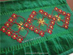 Color con Estilo: Diseño N°2 Hardanger. Toalla verde con bordado hardanger Lomo Saltado, Dress Design Sketches, Swedish Weaving, Celtic, Embroidery, Holiday Decor, Color, Needlepoint Patterns, Embroidery Hoop Crafts