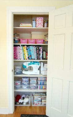 My scrapbooking/craft room has been turned into one of the boys rooms, so I'm thinking of turning the computer room closet into my craft closet. I need all the ideas I can get on how to do this.