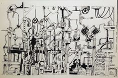 concept pen and ink drawing sketch illustration mechanical industrial art by merts or El Bell
