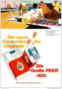 Original-Werbung/ Anzeige 1969 - PEER 100 CIGARETTEN - ca. 180 x 240 mm