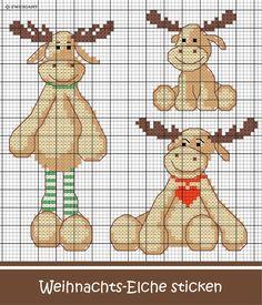 Drei süße Elche sticken #Sticken #Kreuzstich / #Weihnachten / # Elch; #Embroidery #Crossstitch / #Christmas / #moose / #ZWEIGART
