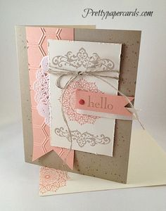 handmade card ... shabby chic look ... want to remember this gorgeous color combo: Very Vanilla, Crisp Cantaloupe and Crumb Cake ... Stampin' Up!