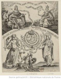 Louis XIII et Anne d'Autriche assis dans une gloire ; au-dessous, les armoiries de France et de Navarre sont accompagnées des figures de la Vierge et de la Justice.