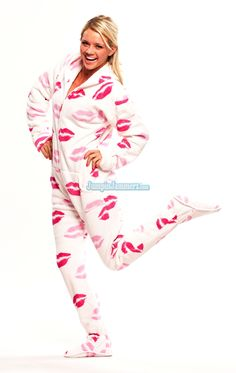 Fat Kisses Chenille - Hooded Footed Pajamas - Pajamas Footie PJs Onesies One Piece Adult Pajamas - JumpinJammerz.com