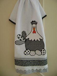 PANO DE PRATO DE GALINHA | Flickr - Photo Sharing!..... Repasador gallina con juego de colores en blanco y negro