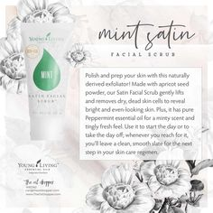 Polish and prep your skin with this naturally derived exfoliator! Made with apricot seed powder, our Essential Oils For Skin, Rose Essential Oil, Young Living Essential Oils, Serum For Dry Skin, Apricot Seeds, Facial Scrubs, Facial Masks, Organic Beauty, Peppermint