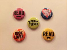 Set of 72 buttons  Book Geek buttons 1 by readnowsleeplater