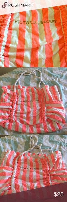 Victoria Secret Oversized Beach Bag Coral pink and white stripes. Brand new, never used. Two exterior side pockets. Great size bag to take with you to the beach or pool! Can easily hold three big beach towels Victoria's Secret Bags Totes