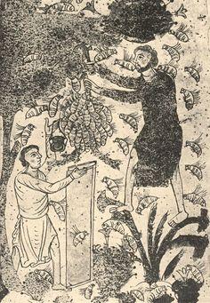 Book cover rendering of Medieval bee keepers.