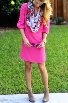 Wearing bright colors in the fall || Bright pink dress, floral scarf, booties