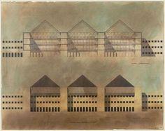 "aldo rossi - regional administrative center, project ""trieste e una donna."", trieste, italy, competition design: elevation and section"