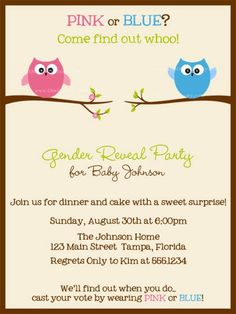 Gender Reveal Party Invites Owl