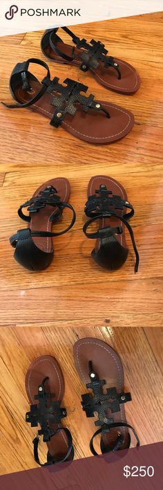 Tory Burch Black Leather Sandals Black comfy Tory Burch leather sandals. Gently worn a few times Tory Burch Shoes Sandals