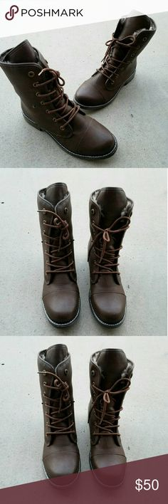 Dirty laundry lace up Wow! This is beautiful mid-calf lace up boots. Faux leather with fur inner lining. Pretty like new condition Dirty Laundry Shoes Lace Up Boots