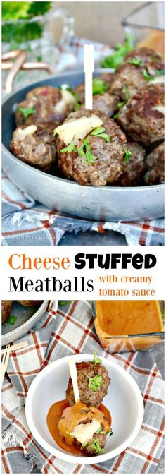 Cheese Stuffed Meatballs with a Creamy Tomato Sauce makes a great appetizer or serve without the sauce on your favorite pasta!