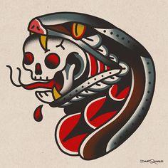 Snake and Skull Tattoo Old School