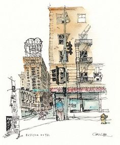 Sketch Painting, Love Painting, Drawing Sketches, Drawings, Building Drawing, Building Sketch, Illustrations, Illustration Art, Building Illustration