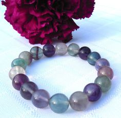 Fluorite Bracelet Beaded Stretch Bracelet Rainbow by FancyFlairLtd, $20.00