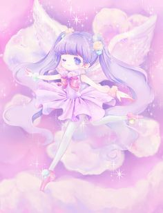 ✮ ANIME ART ✮ chibi. . .pastel. . .angel. . .ballerina. . .clouds. . .cute. . .kawaii