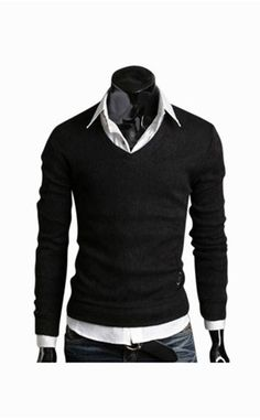 Man Slim Fit Black V-Neck Sweater