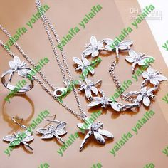 Wholesale 925 silver plated bracelet necklace earring ring Dragonfly with Rhinestone chain jewelry set, $0.84-6.8/Set   DHgate