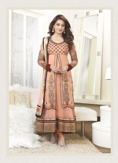 Indian Bipasha Basu Peach Anarkali Frock For Mehndi Event Rs2,999  Price in reward points: 1000 CELEBRITY: Bipasha Basu STYLE: Anarkali Suit FABRIC: 60gm Georgette, Santoon, Nazneen WORK: Embroidered COLOUR: Cream OCCASION: Party, Wedding, Festival CATALOG NO.: SEM159 DISPATCH WITHIN 5 Product Code: 3401