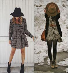 Quer coisa mais linda do que um vestidinho leve com uma bota pesada? Sou fã e apesar da pegada ¨boho¨ dá para estilizar esse tipo de look que sai do básico e enche os olhos. Os exemplos acima são mais para o estilo hippie chic que ficam ótimos em festas juninas (bota a meia calça!) … Basic Fashion, Cute Fashion, Boho Fashion, Autumn Fashion, Fashion Outfits, Winter Outfits, Cool Outfits, Casual Outfits, Estilo Hippie