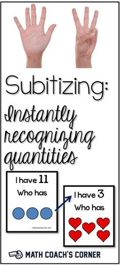 Subitizing: Instantly Recognizing Quantities Subtizing is a critical skill for Kindergarten and Graders. Read more and grab a *FREEBIE*! Numbers Kindergarten, Math Numbers, Preschool Math, Math Classroom, Fun Math, Teaching Math, Math Activities, Number Sense Activities, Math Art