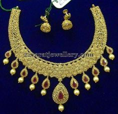 Jewellery Designs: 86 Grams Chakri Diamond Ruby Set