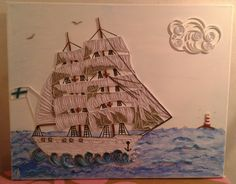 Wall art, sea ship, ocean, lighthouse by paper quilling and acryl colours