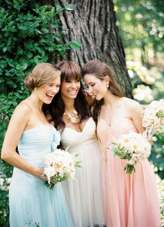 Loving these pretty pastel Donna Morgan Bridesmaids Dresses