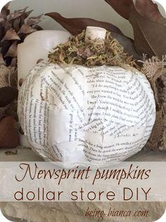 newsprint pumpkin, neutral fall decorating, dollar store pumpkin, dollar store craft