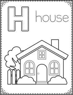 Printable House Simple shapes Coloring Pages