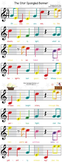The Star Spangled Banner in C Major for Boomwhackers, Bells and Chromanotes Instruments