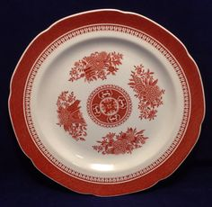 Spode China Fitzhugh-Red Dinner Plate Flowers Scalloped  Red Band W88 England #Spode