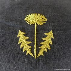 dandelion embroidery. I like this times for the yellow-gray combo. Make a potato stamp and use on fabric?